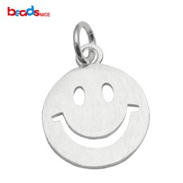 Wholesale Funny Necklaces - Beadsnice funny christmas gift 925 sterling silver happy smiling face jewelry making tiny smiley charm ID 35628
