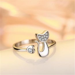 Wholesale Silver Ladies Ring Bands - Wholesale- Full Zircon Filled Cute Cat Silver Ring for Women Silver Plated Wedding Bands Party Rings for Lady resizable R017