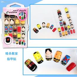 Wholesale Fingernail Stickers - Wholesale-24 pcs set Assassination Classroom Korosensei Cosplay Nail Sticker full cover Fingernails False Nails Art,Salon Makeup Set,Free