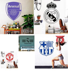 Wholesale Modern Classic Decor - Football World Cup Logo Vinyl Wall Sticker Football Club Home Decor Mark Flag Soccer Sign Vinyl Wall Decal Removable Wall Stickers