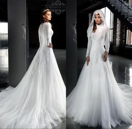 Wholesale Wedding Dresses Long Sleeves Hijab - White Arabic Long Sleeves Lace Modest Wedding Dresses 2017 High Neck A Line Muslim Hijab Bridal Gowns Wedding Dress