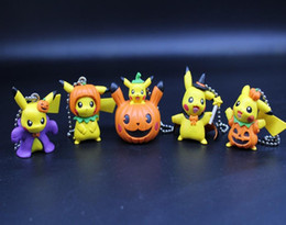 """Wholesale Pikachu Ornament - 2.3"""" Christmas pumpkin pikachu bagged pendants Pendant Backpack ornaments Chain metal Collectible Toy gifts 5 style 2#"""