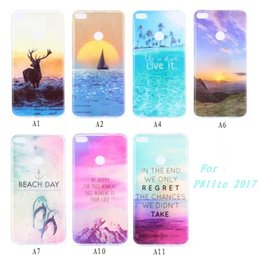 Wholesale Iphone Beach - Bling Scenery Sunrise TPU Soft Case For Huawei Honor 6X P10 Plus P8 Lite 2017 IPhone 7 6 6S Plus Sea Beach Day Deer Phone Skin Cover 100pcs