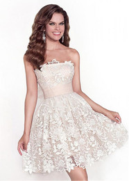 Wholesale Strapless Satin Bowknot Ivory - On-Sale! Cocktail Dresses With Sweet Mini Skirt Lace & Satin Strapless Neckline A-line Bowknot Applique Elegant Party Dresses #LL30010