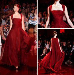 Wholesale Celebrity Inspired Dresses Elie Saab - 2017 Formal Dresses Evening Wear Square Neck Burgundy Elie Saab Dresses Floor Length Chiffon Evening Gowns with Long Wrap Celebrity Dresses