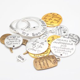 Wholesale Cameos Jewelry Making - Vintage Cameo Mixed Alphabet Letter Charms for Jewelry Making DIY Handmade Metal Letter Pendant Charms 15pcs lot C8750