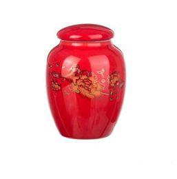 Wholesale tea tin cans - factory outlet jingdezhen porcelain mini zhenshanxiaozhong black tea tins red oolong or puer tea storage cans T316