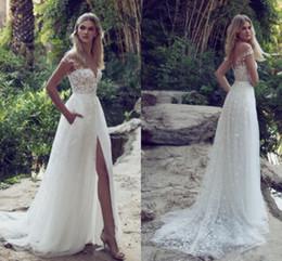 Wholesale Long Skirt Boho - Boho Sexy Summer Beach A Line Wedding Dresses 2017 Off-the-Shoulder with Lace Appliques High-Thing Split Side Vestido De Novia Bridal Gowns