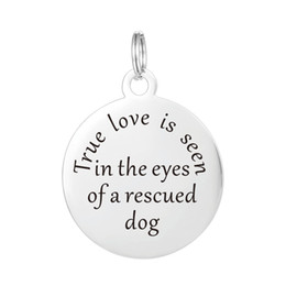 Wholesale Christmas Keepsakes - True Love is seen in the eyes of a rescued dog Stainless Steel Keepsake Message Necklace