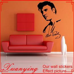 Wholesale Face Art Designs - Elvis Presley Face Signature Vinyl Decal Wall Sticker Art Decals