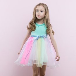 Wholesale Rainbow Ball Gowns - Girl Dresses Rainbow Skirt Summer Dresses Kids Princess Skirt For Birthday Party Party Breathable Leisure Beach skirt