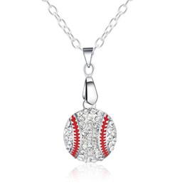 Wholesale Rhinestone Baseballs - Hot sell necklaces for women fashion baseball pendant necklace Alloy crystal long necklace free shipping