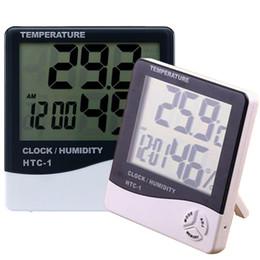 Display eletrônico interior on-line-Eletrônico Relógio de Temperatura HTC-1 LCD Digital Medidor de Umidade Interna Alarme Diário E Exibição de Calendário com Pacote de Varejo DHL OTH357