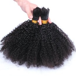 Wholesale Raw Indian Hair Curly - Human Hair Bulk Afro Kinky Curly Raw Indian Temple Hair Bulk Brading Hair Kinky Curly Natural Color Dyeable 12-30 inch