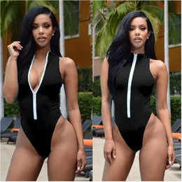 Wholesale Thong Front - Maillot De Bain Une Piece Push Up High Neck Swim Front Zipper Swimsuit Thong Monokini Swimsuits Sexy Plus Size Girls Bikinis