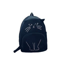 Wholesale Japanese Cartoon Backpack - Wholesale- 2016 Japanese Lovely cartoon Cat Backpack For Women Backpack Casual Canvas Girl School Bag Kawaii Backpack travel rucksack