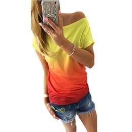 Wholesale Color Block Tee Shirts - Wholesale- FancyQube Basic Shirts Female Ombre Short Sleeve Ripped Loose Color-Block Tees And Shirts 2016 Summer Style High Street T-Shirt