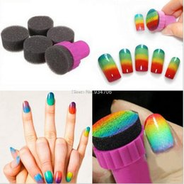 Nail supplies wholesale stamping art online-Venta al por mayor- jg0045 Nail Art Tools gradiente clavos 5 pcs esponjas suaves 1 estampilla de PC para el color se descoloran manicura DIY Creative Nail accesorios de suministro