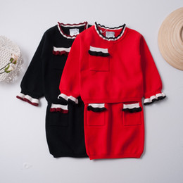 Wholesale Blouse Skirt Set - Everweekend Baby Girls Outfits Petal Sleeves Autumn Tops Knit Blouse Pullover Shirt and Pockets Skirt Kids Sets Korean Style