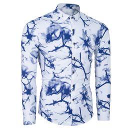 Wholesale Hawaiian Dress Xl - Men Shirt Luxury Brand 2017 Male Long Sleeve Shirts Casual Mens Personalized Ink Slim Fit Dress Shirts Mens Hawaiian 2XL