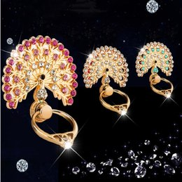 Wholesale Peacock Holder - 2017 New 360 Rotating Cartoon peacock Diamond Mobile Phone Accessories Holder Finger Ring Stent Lazy Luxury Ring Phone Stents wholesale