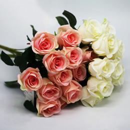 Fiori artificiali per rose di nozze online-Artificial Carter rose 12 teste 1 mazzo di fiori rosa decorazione della casa pompom fai da te bouquet di seta vaso di nozze flores artificiales florals deco