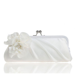 Wholesale Ivory Black Satin Evening Bag - Wholesale-2015 New 3D Flower Silk Elegant Evening Bag Lady Three-dimensional Flower Satin Bridal Wedding Purse Party Messenger ClutchXA91L