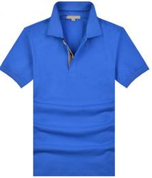 Wholesale Designer Men S Tops - Hot classic mens European summer 100% cotton polo shirts top quality designer man casual Sport Shirt Brit style Short sleeve T-Shirt
