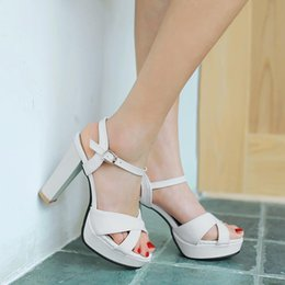 Wholesale Peep Toe Wedge Platform - new fashion wedges women sandals peep toe ankle strap party wedding shoes high heels platform ladies shoes woman Plus size 34-43