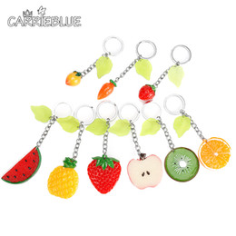 Wholesale Strawberry Figures - cute fruit (watermelon,pineapple,strawberry) pendant Key Ring For Car Bag Key Chain Acrylic Handbag pendant bag charm KY03
