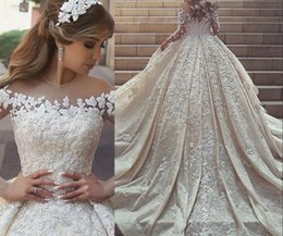 Wholesale Cathedral Train Princess Wedding Dresses - Saudi Arabic Lace Wedding Dresses Long Chapel Train heer Neckline Jewel Long Sleeves Wedding Dress Custom made Amazing Bridal Gowns