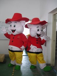 Lindos trajes de cerdo online-Pink Pig Costume Cute Animal Pig Mascot Costumes Party Fancy Dress Christmas Hallowmas Mascot Envío gratis