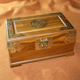 Wholesale Vintage Wood Lock Box - Wedding decoration Vintage home Cosmetic chest Handmade Solid Verawood wood Jewelry storage box with inner tray mirror copper handle lock