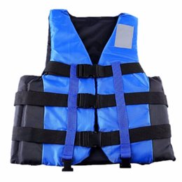 Wholesale Boating Vest - Wholesale- New Polyester Adult Life Vest Jacket Universal Swimming Boating Ski Drifting Foam Vest with Whistle Prevention S-XXL Sizes