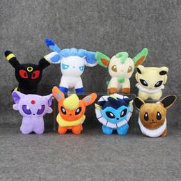 Wholesale Glaceon Leafeon Stuffed Animals - 8pcs lot 5'' Pikachu Umbreon Eevee Espeon Jolteon Vaporeon Flareon Glaceon Leafeon Plush Toys Soft Stuffed animals