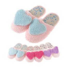 Wholesale Velvet Slippers Wholesale - Wholesale- Women Girls Velvet Home Slippers Large Heart Shape Winter Indoor House Slipper Soft Cotton Floor Warm Plush Shoes For Ladies