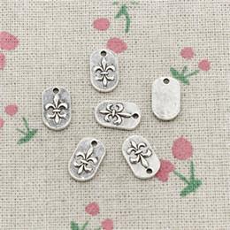 Wholesale Antique Fleur Lis - 100pcs Charms fleur de lis tag 14*8mm Antique Silver Pendant Zinc Alloy Jewelry DIY Hand Made Bracelet Necklace Fitting