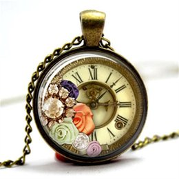 Wholesale Steampunk Wholesalers - 10pcs lot Steampunk Clock and Diamonds Necklace Glass Photo Cabochon Necklace