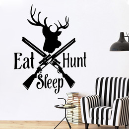 Wholesale Sticker Duck - Hot Sale Eat Sleep Hunt Deer Bow Wall Window Sticker Art Decal Vinyl Stickers Duck Hobby DIY