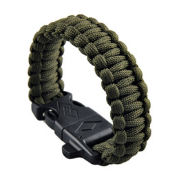 Wholesale paracord bracelets cord - 4 in 1 Outdoor Rope Paracord Survival Gear Escape Outdoor Camping Survival Gear Bracelet Kit For Camping Hiking Rescue Parachute Cord