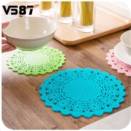 Wholesale Cup Holders For Tables - Wholesale- 4Pcs PVC Lace Flower Doilies For Party Wedding Table Decor Cup Coaster Cake Holder Heat Resistance Mat Colorful Placemat