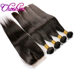 Wholesale Pc Based - Choshim 3or4 Pcs Brazilian Remy Hair Straight With Silk Base Closure Straight Virgin Hair Silk Base Closure With Bundles Human Hair 10A