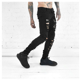 Wholesale Designer Man Pants - Wholesale-2016 new men's jeans ripped jeans for men skinny Distressed slim famous brand designer biker hip hop swag black slim jeans