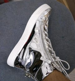 Wholesale Serpentine Shoes - 2017 Newly styler men silver patent Royaums casual Serpentine stitching leather high top White shoes leather good quality Black Wave size