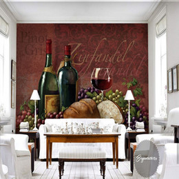 Wholesale Back Roll Painting - Free Shipping 3D Stereo Custom Bread Wine Life Realistic Oil Painting Lobby Living Room Bathroom Wallpaper Bedroom Restaurant Mural