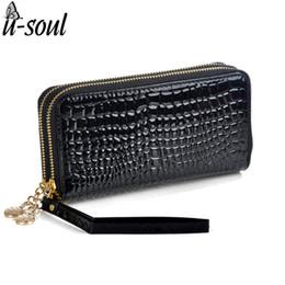 Wholesale black patent wallet - Wholesale- Purse Women Patent Leather Purses Women Wallets Luxury Brand Wallet Double Zipper Day Clutch Black Purse sc0065