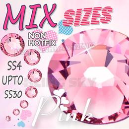Wholesale Rhinestones Crystal Pink Nail - Wholesale- Mix Sizes Lovely Pink Nail Art Rhinestones SS4 SS6 SS8 SS10 SS12 SS16 SS20 SS30 to DIY Fashion strass glitter Non HotFix crystal