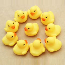 Wholesale Duck Favors - Wholesale- 10Pcs set Cute Rubber Duck Ducky Duckie Baby Shower Birthday Party Favors Toys Best Gift For Children Kids F1