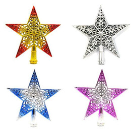 Wholesale Red Tree Topper - Wholesale- New Plastic Lovely Shiny Star Topper Top Ornament Xmas Christmas Tree Decoration Ornament Xmas Decorative Supplies 4 Colors