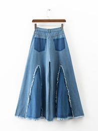 Wholesale Wide Leg Pants Culottes - Wholesale- Fashion 2017 High Waist Wide Leg Pants Raw Edges Zipper Water Washing Vintage Denim Ankle-Length Trousers Women Culottes Femme